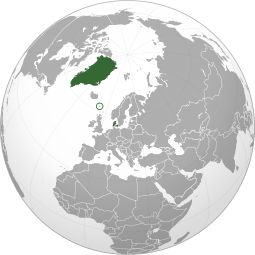Dark green: Greenland, the Faroe Islands (circled) and Denmark.