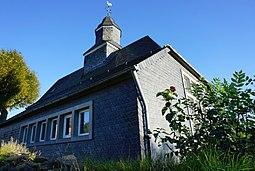 Deutschland, Rheinland Pfalz, 56472 Nisterberg (Kr. Altenkirchen), evangelische Kirche/Kapelle im Kirchweg 3. Baustil - romanischer Ostteil, das Schif...