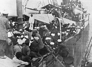 Hindu–German Conspiracy - Punjabi Sikhs aboard the Komagata Maru in Vancouver's English Bay, 1914. The Canadian government banned the passengers from landing in Canada and the ship was forced to return to India. The events surrounding the Komagata Maru incident served as a catalyst for the Ghadarite cause.