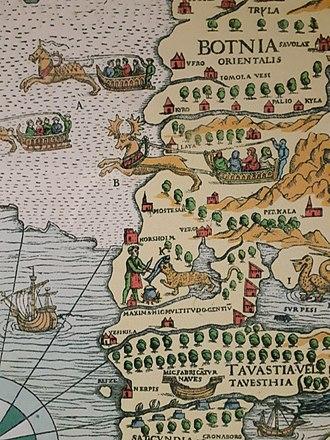 Korsholm - Korsholm and Mostesar appear separately in Olaus Magnus' 1539 map, Carta Marina.
