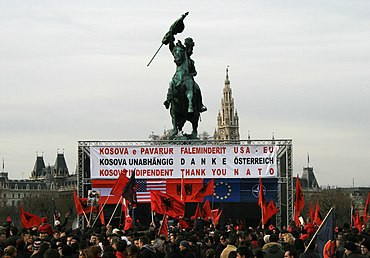 Celebration of the declaration of independence of Kosovo from Serbia in Vienna.