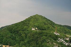 Wettingen - Lägern mountain and Schartenfels castle, only part of the mountain is in Wettingen