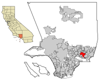 Location of West Covina in Los Angeles County, California
