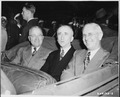 L to R, President Harry S. Truman, Secretary of State James Byrnes, and Ambassador to Belgium Charles Sawyer seated... - NARA - 198780.tif