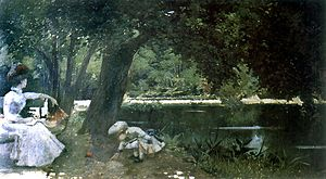 O'Higgins Park - Old pond in Parque O'Higgins; nineteenth century oil painting by  Alberto Orrego Luco