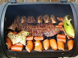 A typical Laredo, Texas grill; Fajita center, Chicken left, Ribs above, Sausage bottom, Corn right; seasons used lime, salt, pepper, and season all or lemon pepper