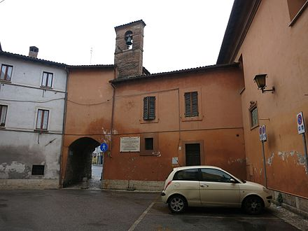 The house in Rieti, Italy where Margaret Fuller lived and gave birth to her son (the one on the left side of the arch, not where the plaque has been placed). Largo Margaret Fuller Ossoli (Rieti) 01.JPG