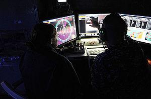 Laser Weapon System - Image: Laser Weapon System control station aboard USS Ponce (AFSB(I) 15) in November 2014 (02)