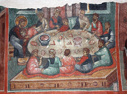 A Kremikovtsi Monastery fresco (15th century) depicting the Last Supper celebrated by Jesus and his disciples. The early Christians too would have celebrated this meal to commemorate Jesus' death and subsequent resurrection. Last-supper-from-Kremikovtsi.jpg