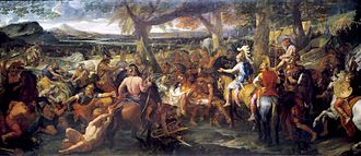 Hephaestion - A painting by Charles Le Brun depicting Alexander and Hephaestion (in red cloak), facing Porus, during the Battle of the Hydaspes.
