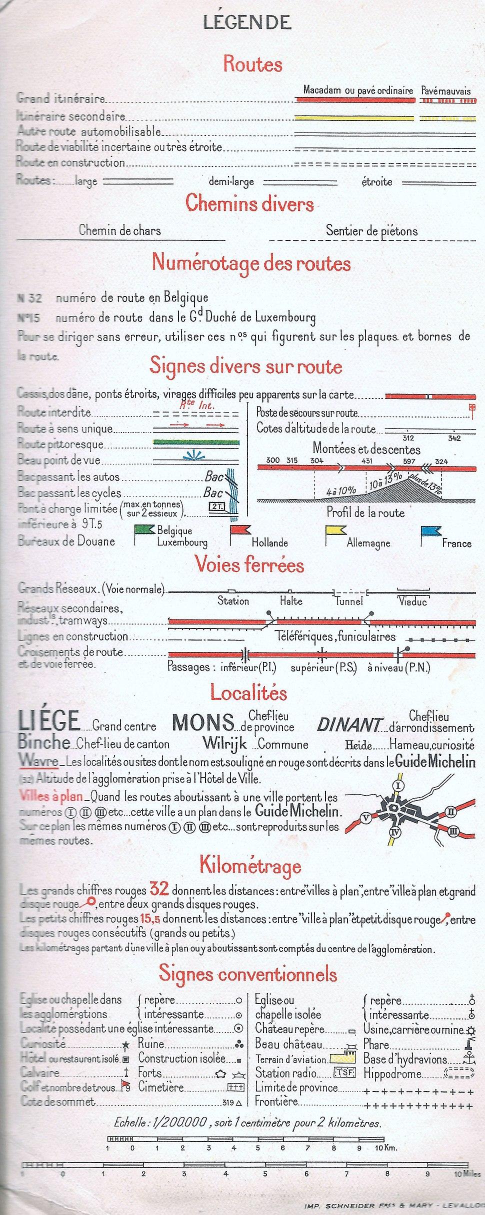 Legenda Michelin kaart 1940