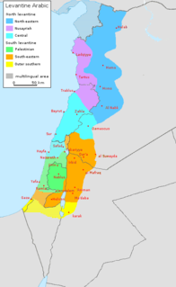one of the 5 major dialects of Arabic, spoken in the Eastern Mediterranean littoral
