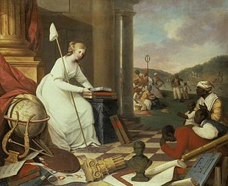 """Stereotypes of African Americans - Samuel Jennings (active 1789-1834). Liberty Displaying the Arts and Sciences, or The Genius of America Encouraging the Emancipation of the Blacks, 1792. Oil on canvas. 60 1/4"""" x 74"""". Library Company of Philadelphia. Gift of the artist, 1792."""