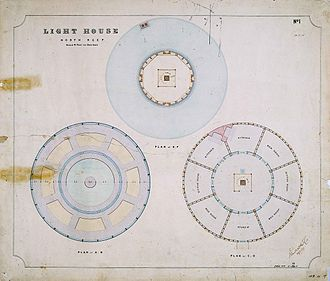 North Reef Light - floor plans, note the plan of the keepers' residence