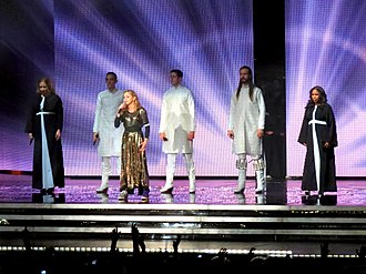 "The MDNA Tour - Madonna and her back-up singers perform ""Like a Prayer"" during the show's final segment"