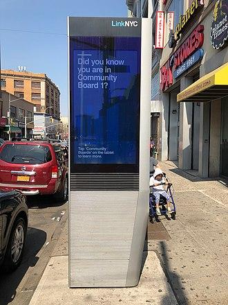 Bronx Community Board 1 - LinkNYC kiosk in the Bronx Community District 1