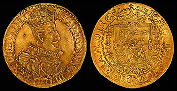 Sigismund III depicted on a 1616 Lithuanian 10 ducat[46] Coat of arms, Polish-Lithuanian Commonwealth, and privy mark of Hieronim Woowicz, Grand Treasurer of Lithuania[46] (reverse, see file notation).