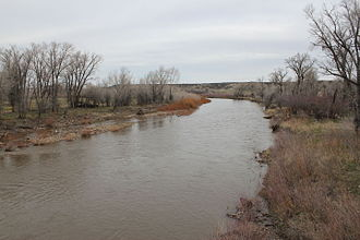 Little Snake River - The river as it passes under Wyoming Highway 70 near Dixon.