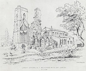 Llandaff Cathedral as it was altered in the last century: S. E. view