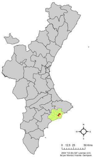 La Nucia - Image: Localització de la Nucia respecte del País Valencià