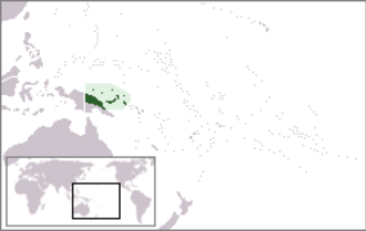 Territory of New Guinea - Location of the Territory of New Guinea in western Oceania.
