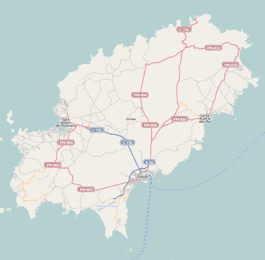 Map of roads and Ibiza Airport (on southern point) and water routes (click map to enlarge). Location map Ibiza.png