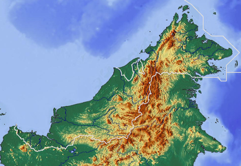 Relief map of Malaysia (Borneo) Geographic lim...