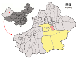 Location of Hoxud County (red) within Bayingolin Prefecture (yellow) and Xinjiang
