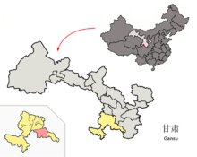 Location of Têwo within Gansu (China).png