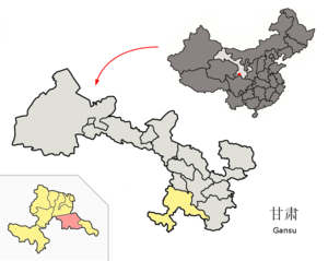 Têwo County - Têwo (pink) within Gannan Prefecture (yellow) within Gansu (grey)