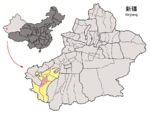 Location of Yarkand within Xinjiang (China).png