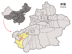 Yarkant County (red) within Kashgar Prefecture (yellow) and Xinjiang