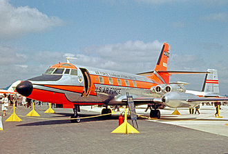 Lockheed JetStar - An Air Force Communications Service C-140A facilities checking aircraft displayed at the 1963 Paris Air Show