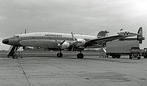 Nordair - Lockheed L-1049H Super Constellation of Nordair at Manchester Airport England on a freight charter in 1966