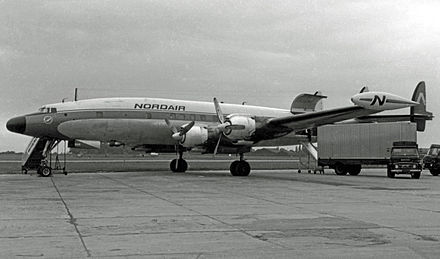 L-1049H freighter of Nordair Canada at Manchester Airport in 1966 - Lockheed Constellation