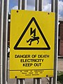 Longbridge Lane, Longbridge - Danger of death electricity keep out - sign (6922357386).jpg