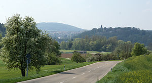 Lorch (Württemberg) - View of Lorch from the East. Steeple and buildings of monastery are visible on hill at right.