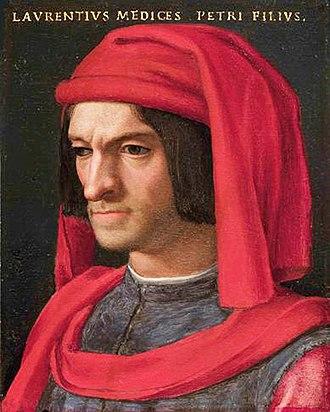 Lorenzo de' Medici - Portrait by Agnolo Bronzino at the Uffizi, Florence