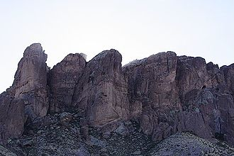 Lost Dutchman's Gold Mine - A view of Superstition Mountains in Lost Dutchman State Park