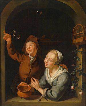 Louis de Moni - Couple blowing soap bubbles.