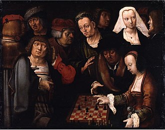 Courier chess - The Chess Players by Lucas van Leyden (c. 1520)