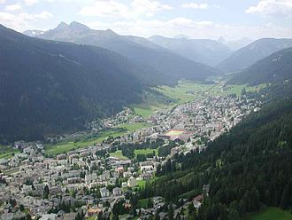 Davos - View of Davos from paraglider looking south-west