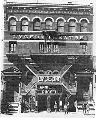 Lyceum Theatre (Park Avenue South) - Facade of the Lyceum announcing an appearance by Annie Russell.