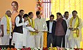 M. Venkaiah Naidu lighting the lamp at the foundation stone laying ceremony of the Indian Institute of Petroleum and Energy, at Vangali Village, in Sabbavaram Mandal of Visakhapatnam District.jpg