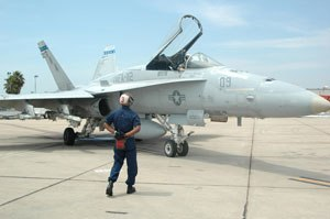 Marine Corps Air Station Miramar - F/A-18 Hornet on the flight line at MCAS Miramar