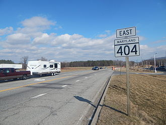 Maryland Route 404 - MD 404 eastbound in Queen Anne after MD 309