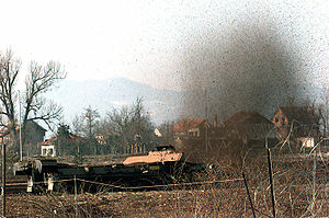 A German Army MaK Keiler Armoured Mineclearing Vehicle is used to clear a field of possible mines in Butmire, Bosnia-Herzegovina