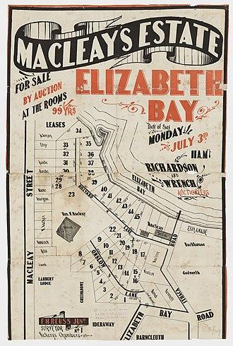 Elizabeth Bay, New South Wales - Image: Macleay's Estate Elizabeth Bay Onslow Ln, Billyard Ln, Ithaca Rd, Macleay St, Elizabeth Bay Rd, 1882