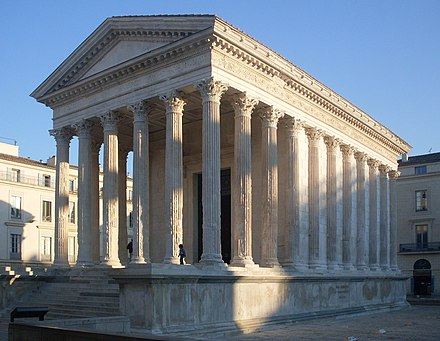 The Maison Carree in Nimes, one of the best-preserved Roman temples. It is a mid-sized Augustan provincial temple of the Imperial cult. MaisonCarree.jpeg