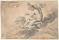 Man Sitting on a Cloud Above a Battlefield, Pointing to a Globe MET DP803233.jpg